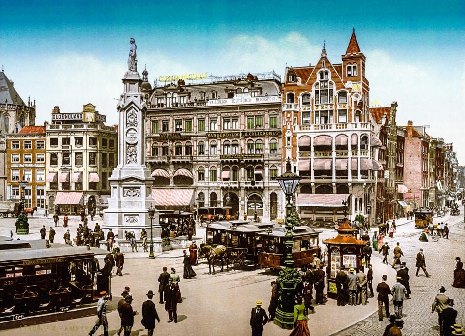 Площадь Дам в Амстердаме в 1900 году