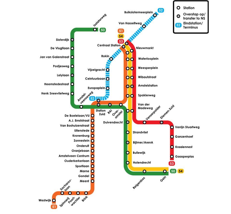 Схема метро Амстердама