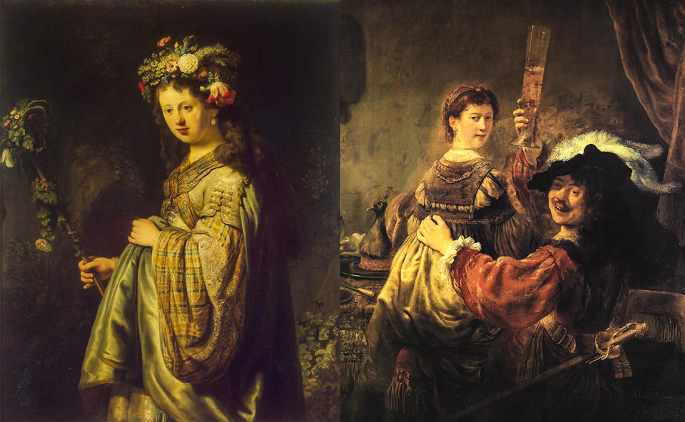 картины Рембрандта с Саскией ван Эйленбюрх это «Саския Флора» и «Автопортрет с Саскией на коленях»