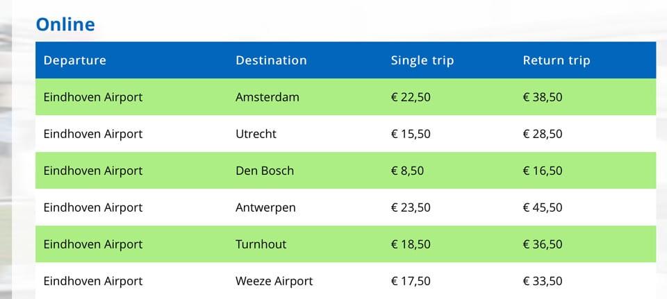автобус аэропорт Эйндховен Амстердам стоимость билетов
