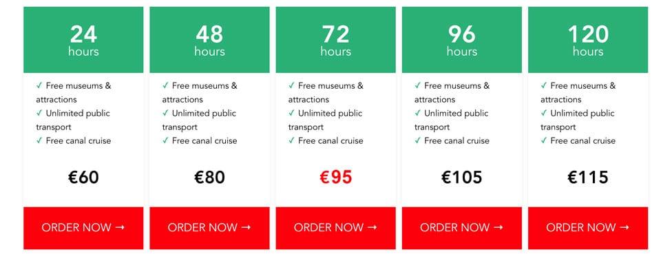 Стоимость туристической карты I Amsterdam