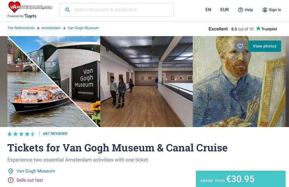 Entrada al Museo Van Gogh y crucero en barco con descuento