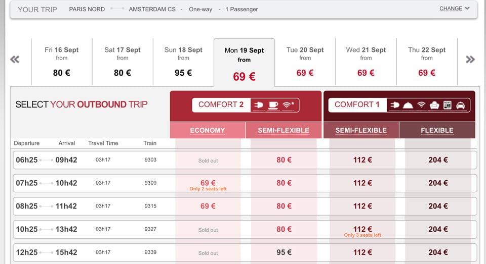 Расписание и стоимость билетов из Парижа в Амстердам