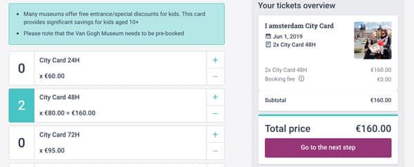 Покупка двух карт I Amsterdam на 48 часов за 160 евро
