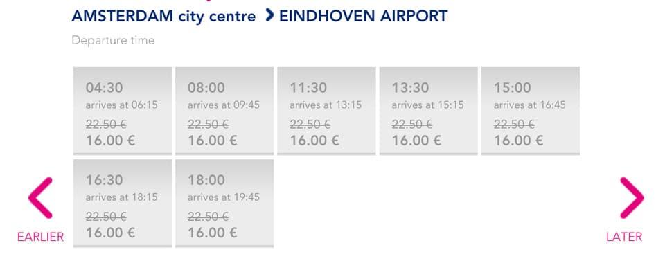 Расписание автобусов из Амстердама в Эйндховен