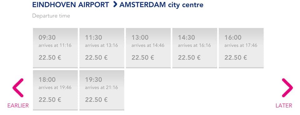 Расписание и стоимость билетов на автобус из аэропорта Эйндховена в Амстердам