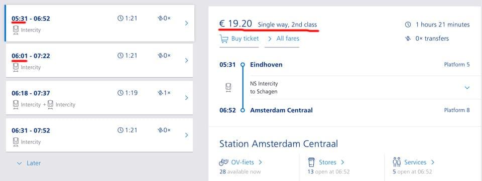 расписание поездов и стоимость билетов Эйндховен Амстердам
