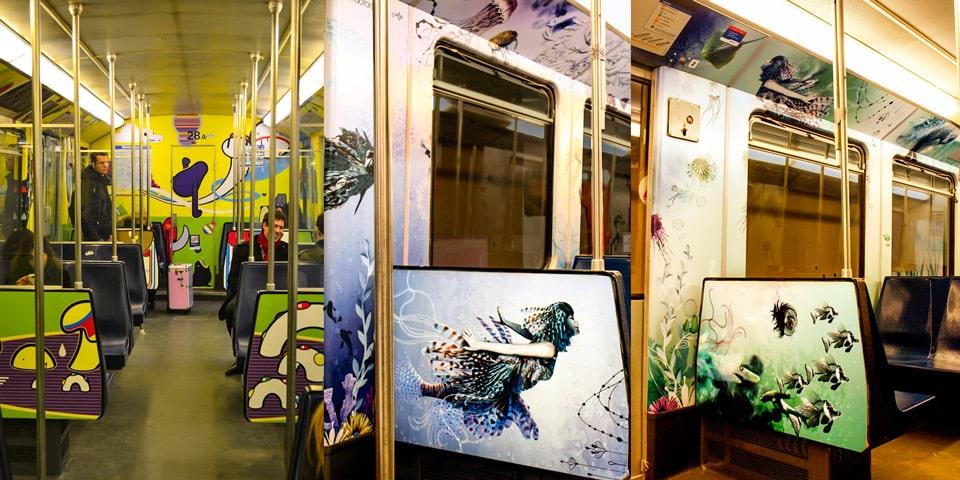 Вагоны амстердамского метро разрисованы художниками
